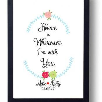 Home is Wherever I'm with You quote, Wedding Sign